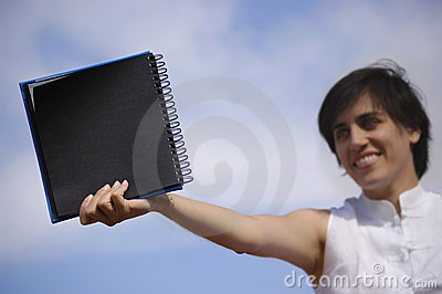 Funny girl with a black notebook