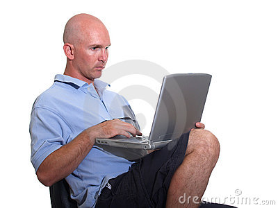 Casual Bald Man using Computer