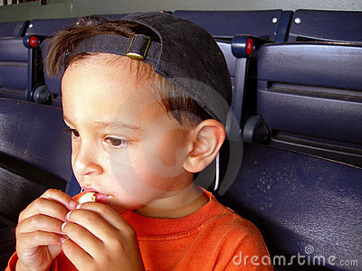 Boy at baseball game