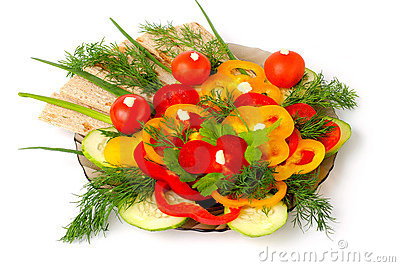 Appetizing vegetables and healthy bread