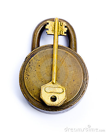 The Lock And The Key Isolated Over White