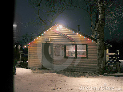 Warming hut at night