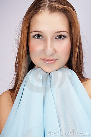 Nice girl  with blue scarf