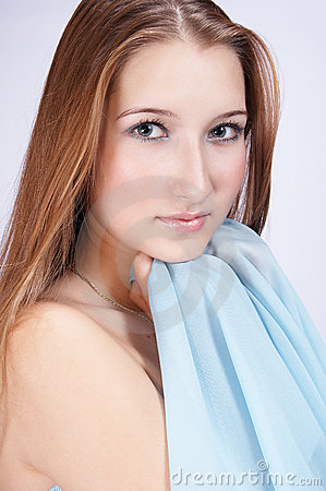 Teenager with blue scarf