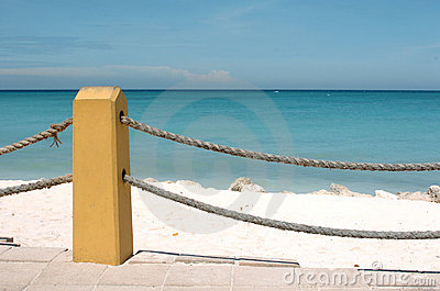 Rope Fence At Beach