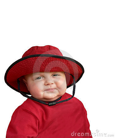 Happy baby in red hat.
