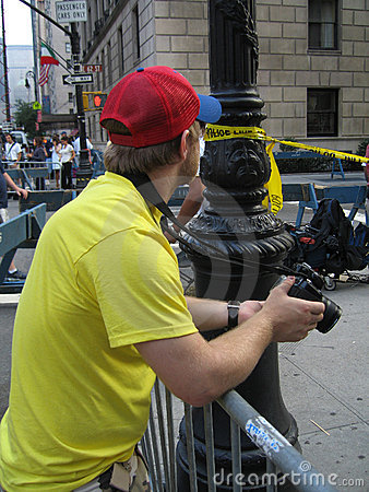 Photographer at crime scene