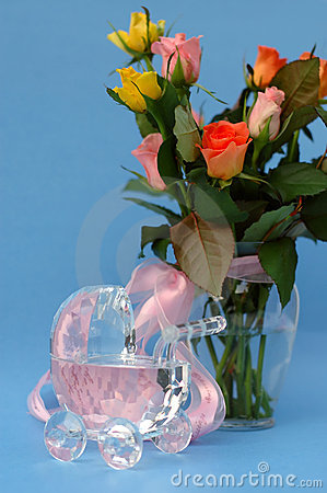 Roses with crystal baby stroller and pink ribbon