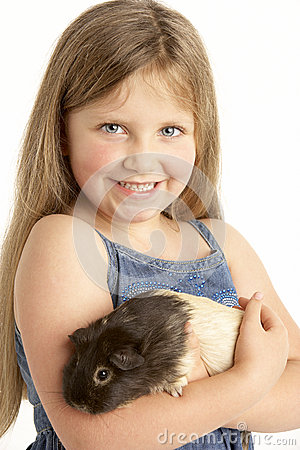 Young Girl Holding Pet Guinea Pig
