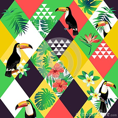 Exotic beach trendy seamless pattern, patchwork illustrated floral vector tropic leaves. Jungle pink toucan