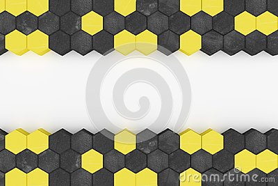 3d rendering of warning hazard hexagon pattern in yellow and black color