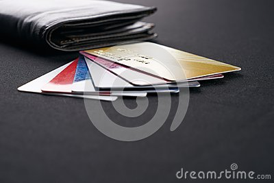 Brown leather wallet with Credit, debit and discount cards