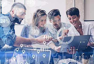 Concept of digital diagram,graph interfaces,virtual screen,connections icon on blurred background.Group of colleagues