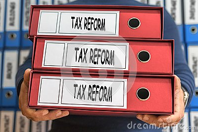 Tax reform concept words. Folder concept. Ring binders.