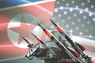 Nuclear weapon with North Korea and USA flag