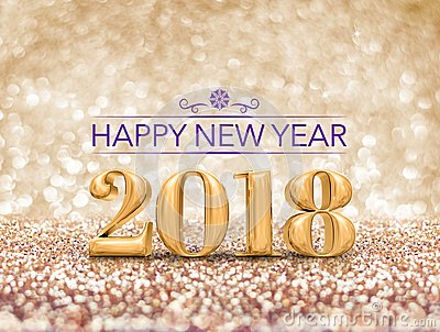 Happy new year 2018 year number  3d rendering  at sparkling go