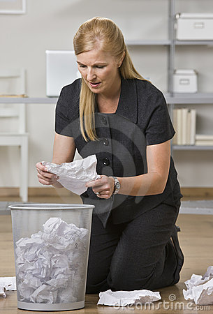 Woman Looking Through Trash