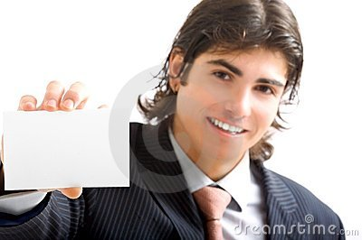 Young business man with card