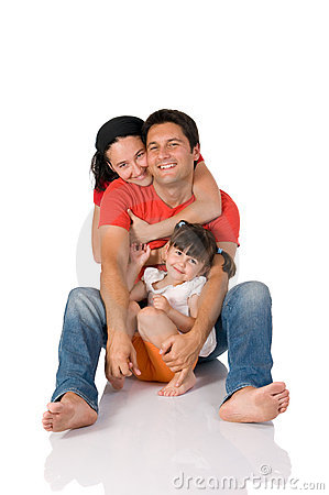 Happy real family embrace