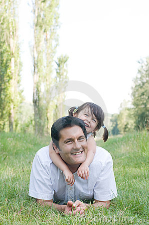 Father and daughter have fun