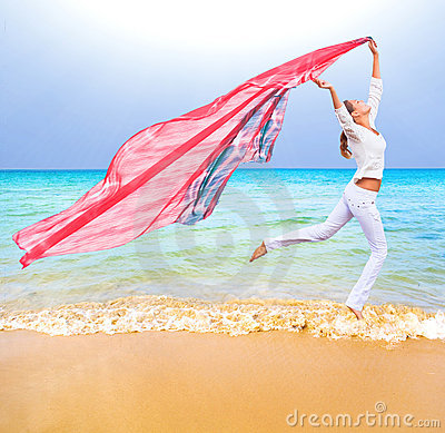 Girl with flying cloth