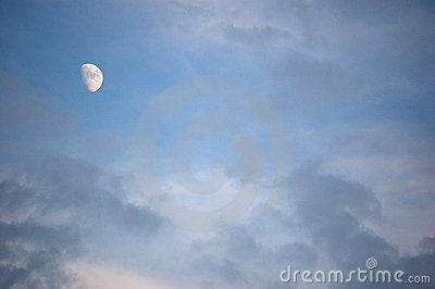 blue sky and moon,1