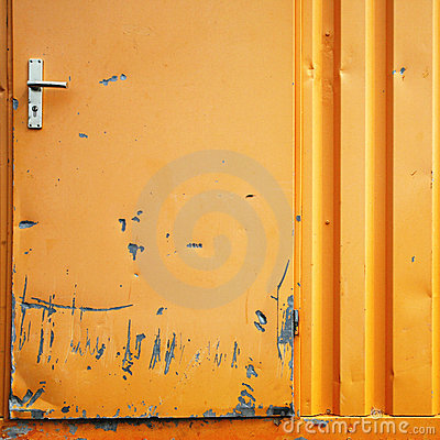 Damaged metal door