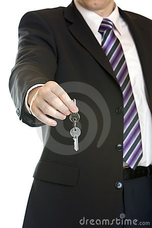 Hand-over of keys by business man