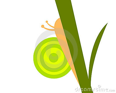 Stylized vector snail on a leaf
