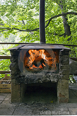 Stone Grill with fire and flame