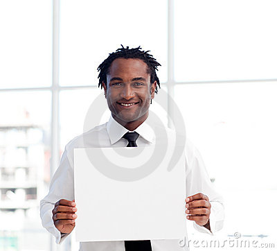 Portrait of an Afro-American businessman holding a