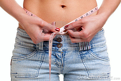 Close up of womans waist and tape measure