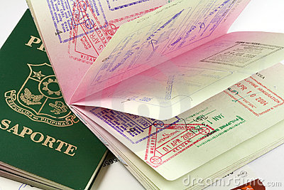 Philippine passports with visa stamps