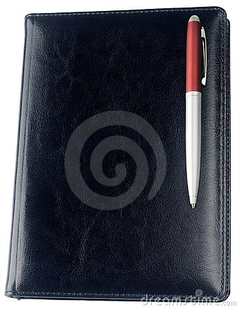 Personal organizer and pen isolated
