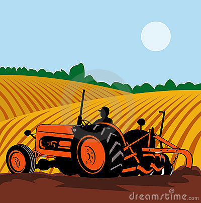 Farmer driving vintage tractor