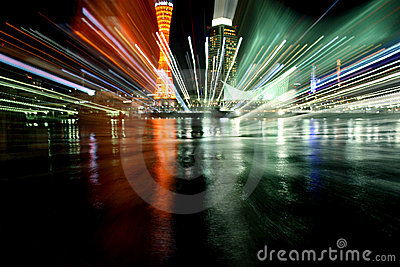 Kobe Port Night Light Explosion