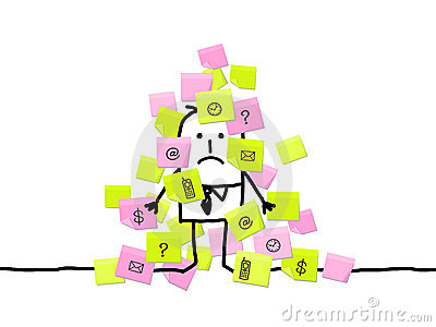 Man & too much sticky notes