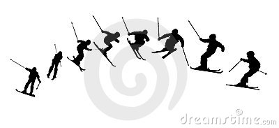 Skiing sequence silhouettes