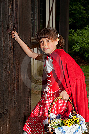 Little red riding hood knocking on door