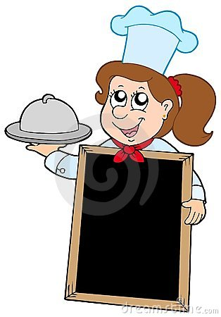 Girl chef with blackboard