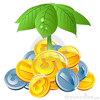 Vector coins under leafs umbrella