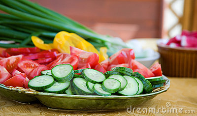 Fresh vegetables prepared for salad