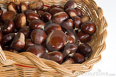 Basket with chestnuts