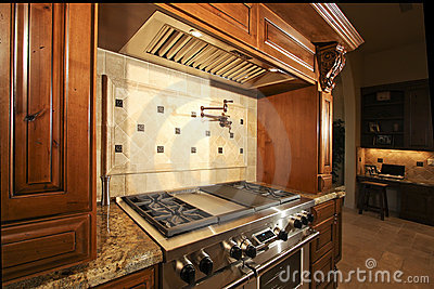 Stainless kitchen oven range and hood