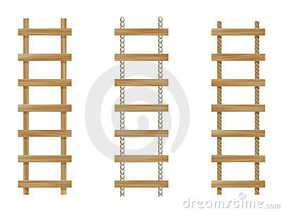 Three wooden ladders