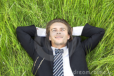 Well-dressed young businessman is resting