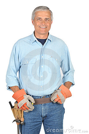 Middle aged Construction Worker wearing toolbelt