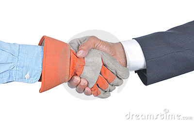 Businessman and Worker Handshake