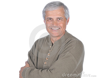 Middle aged Man in Green Sweater Arms Folded
