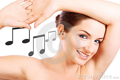 Smiling woman with music notes going in her ear